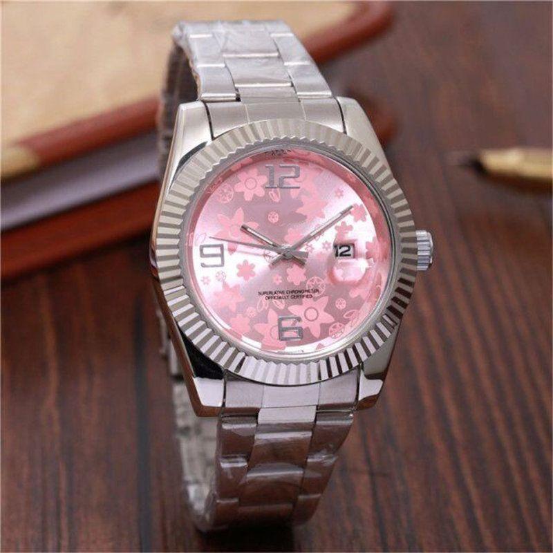 9929c2ba12e70 Deluxe Pink Pattern homem relógios Masculinos e femininos relógios  calendário em relógio de quartzo marca de moda corpo ver coroa de alta  qualidade por ...