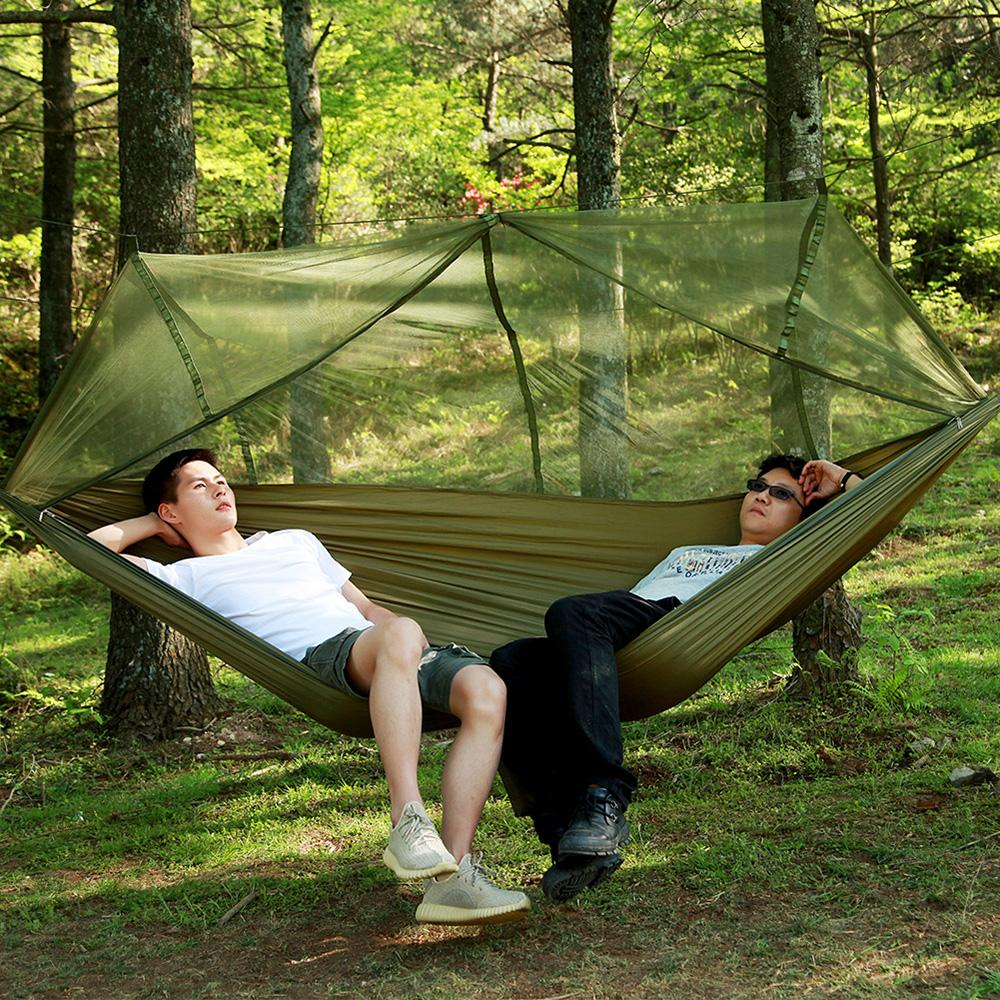 Reasonable 1-2 Person Outdoor Camping Hammock With Mosquito Net Portable Parachute Hanging Bed Hunting Sleeping Swing For Travel Yard Bedding Sets