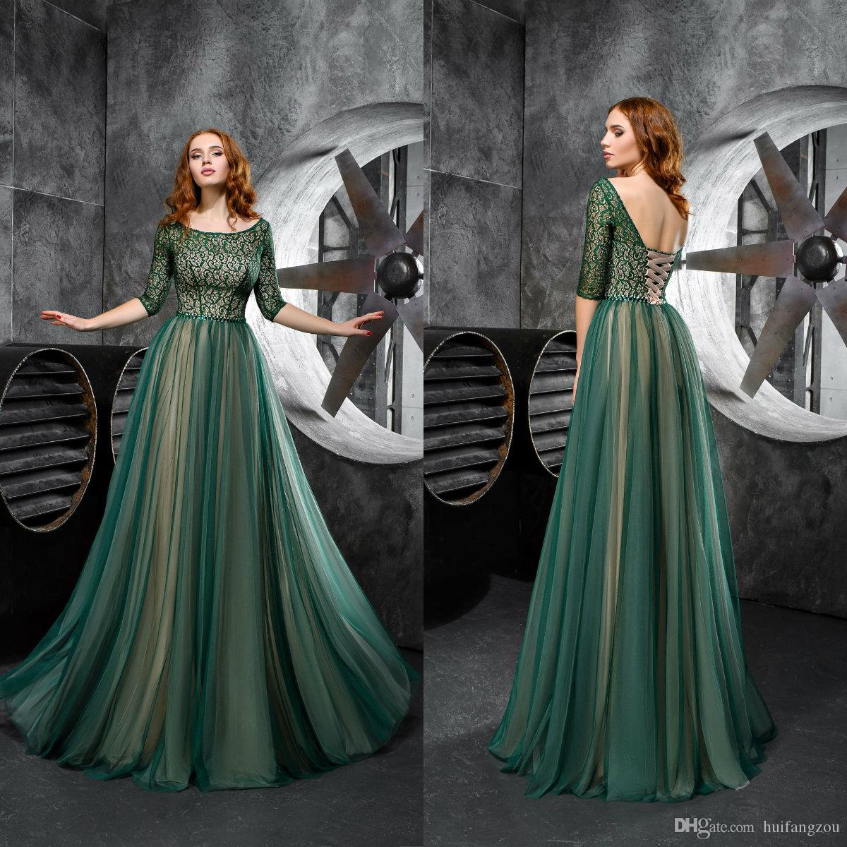 94b5fa2a19 Hunter Green Prom Dresses 2019 Lace Half Sleeve Formal Evening Party Dress  Floor Length Mother Of The Bride Dresses Long Prom Dresses Uk Long Prom  Dresses ...