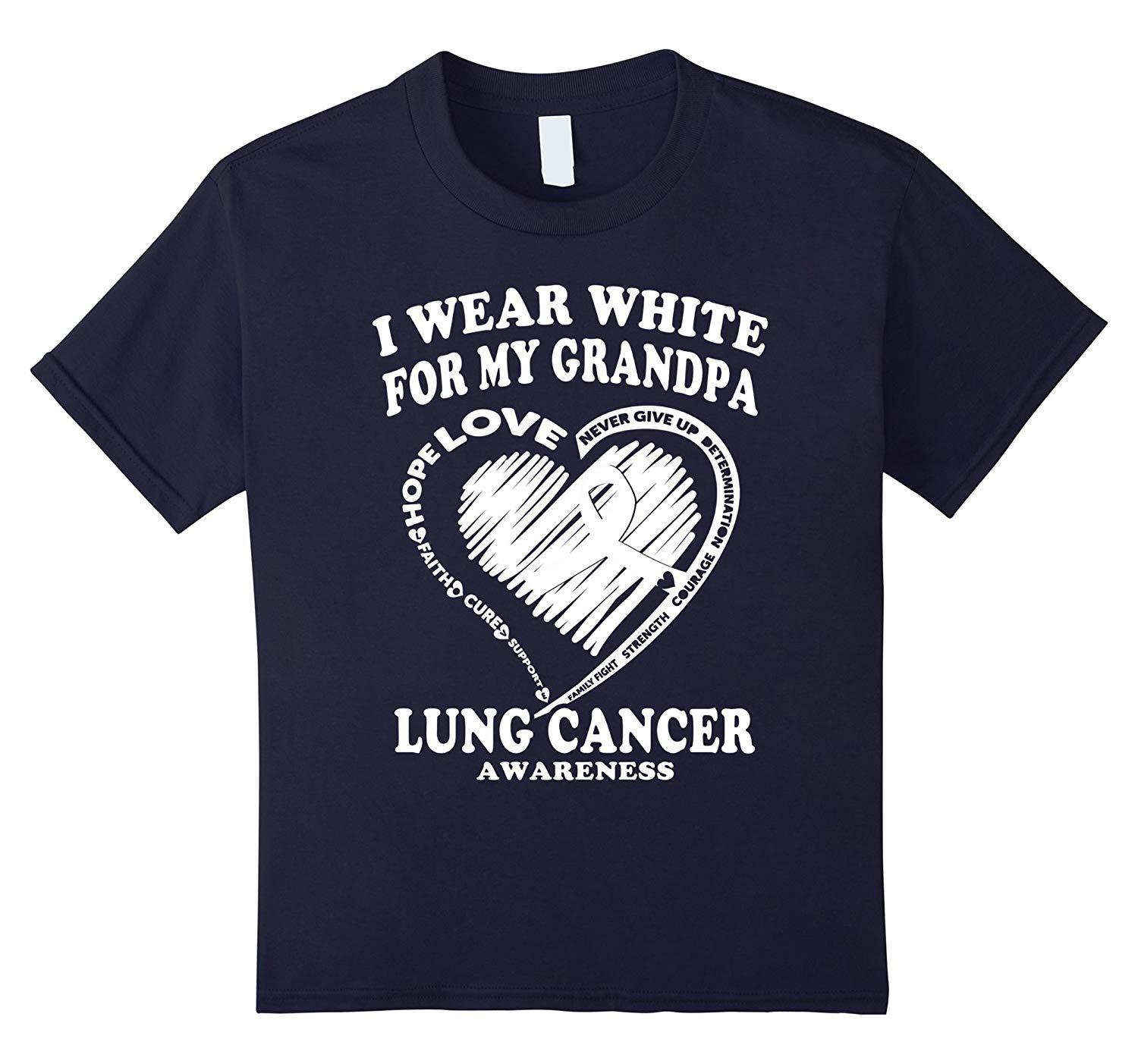 97eeb59313f Lung Cancer Awareness T Shirt I Wear White For My Grandpa Short Sleeve  Round Neck T Shirt Promotion Top T Shirt Sites Cool T Shirts For Boys  Online From ...