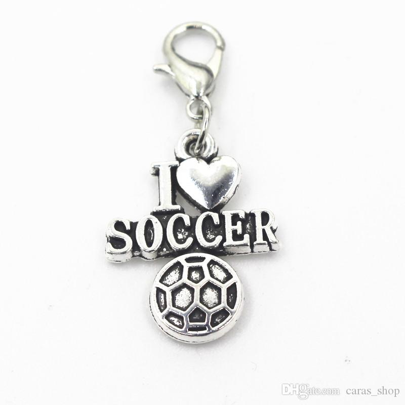 I love soccer dangle charms lobster clasp hanging charms pendant/bracelet diy jewelry accessories
