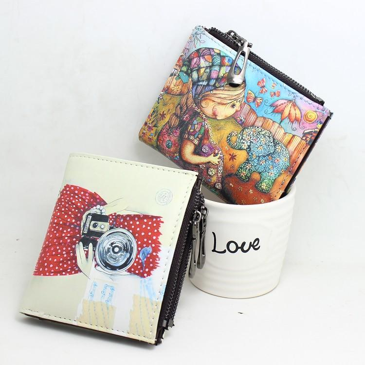 15PCS Art Printing Women Wallet Panda Pattern Leather Short Cluth Coin  Purse Zipper Card Holder Bag