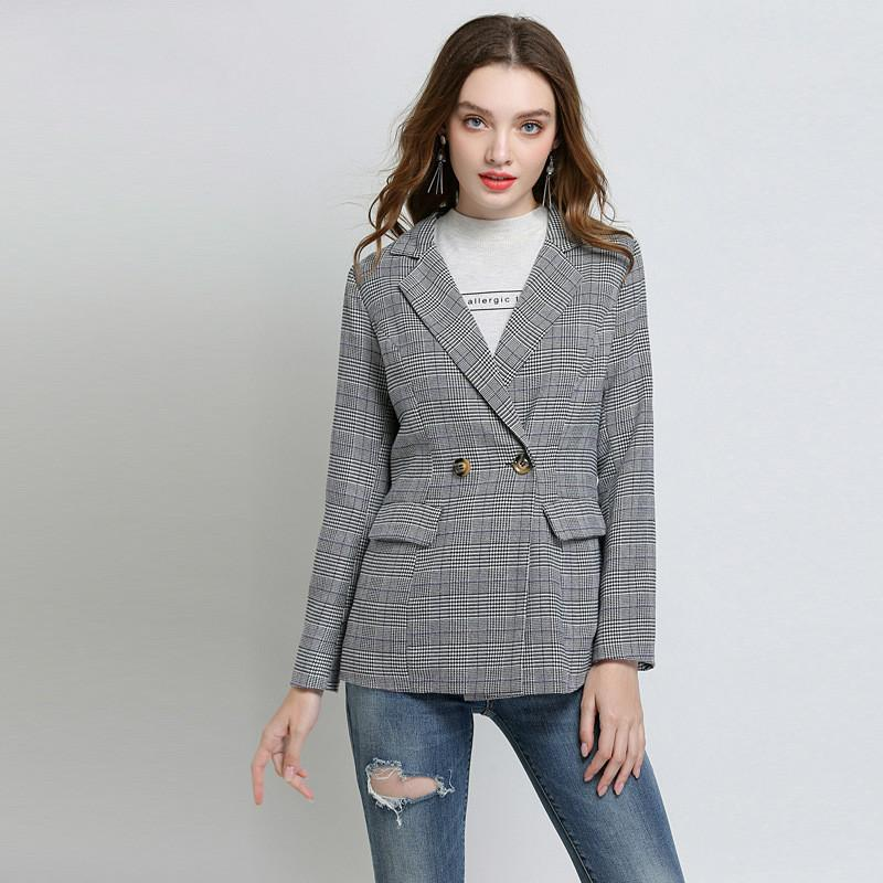 Women Business Casual Coat Long Sleeve Office Lady Style Plaid Suit