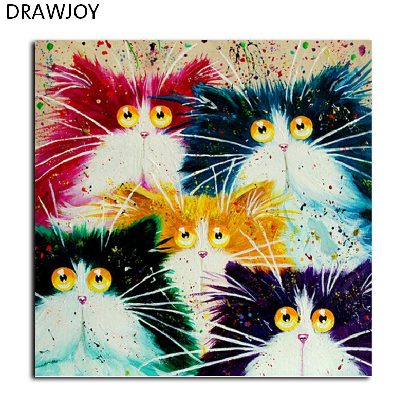 Drawjoy Gerahmtes Bild Malen Nach Zahlen Diy Färbung Nach Zahlen Auf Leinwand Bunte Katzen Wohnkultur 40 50 Cm Malerei Gx4039