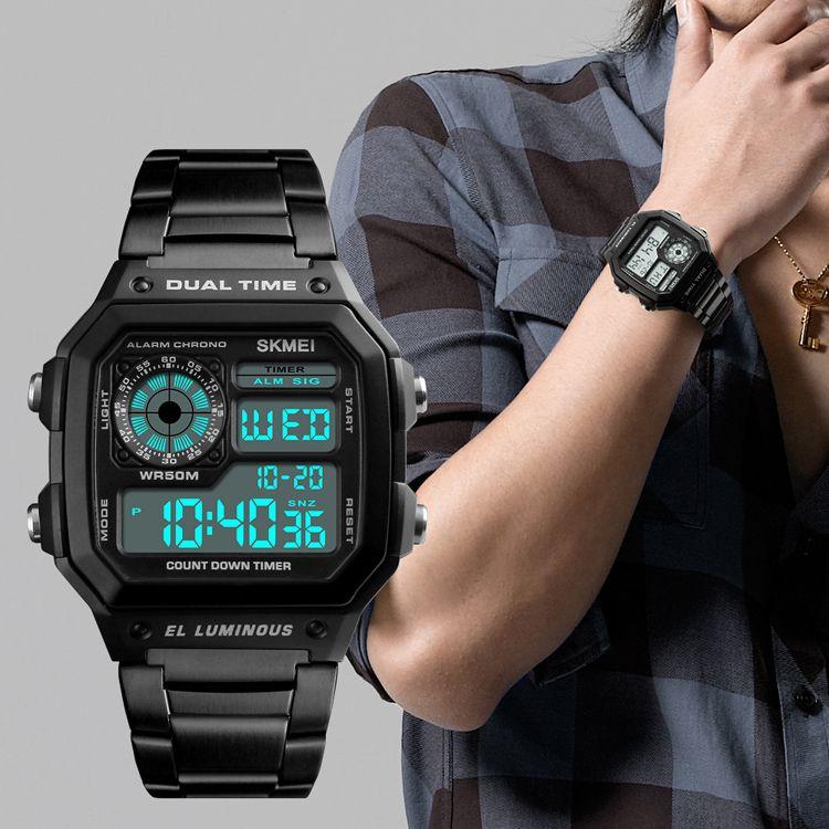 19ee62cd5a88 Compre SKMEI Hombres Relojes Deportivos Cuenta Atrás Reloj Impermeable  Relojes De Pulsera De Moda De Acero Inoxidable Reloj Masculino Relogio  Masculino A ...