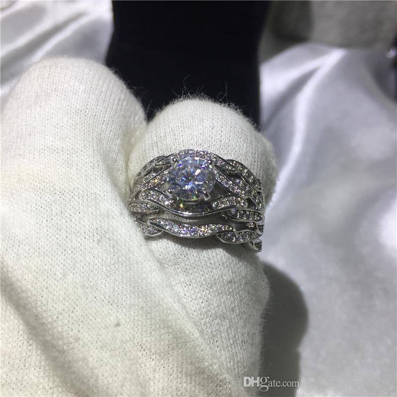 Gioielleria di moda Handmade Princess cut 8mm Cz 5A Zircone pietra 10KT White Gold Filled Fidanzamento Wedding Band Ring Set Sz 5-11
