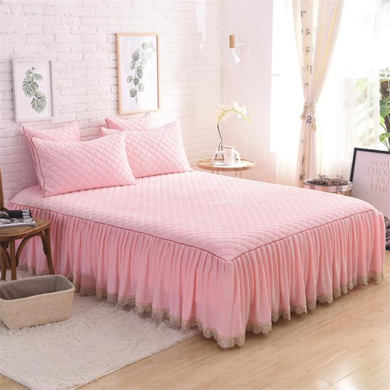 Thick Fleece Warm Bed Skirt Pink Purple Brown Grey Bedding Set Twin Queen King Size Bedspread Pillowcases 120 150 160x200cm