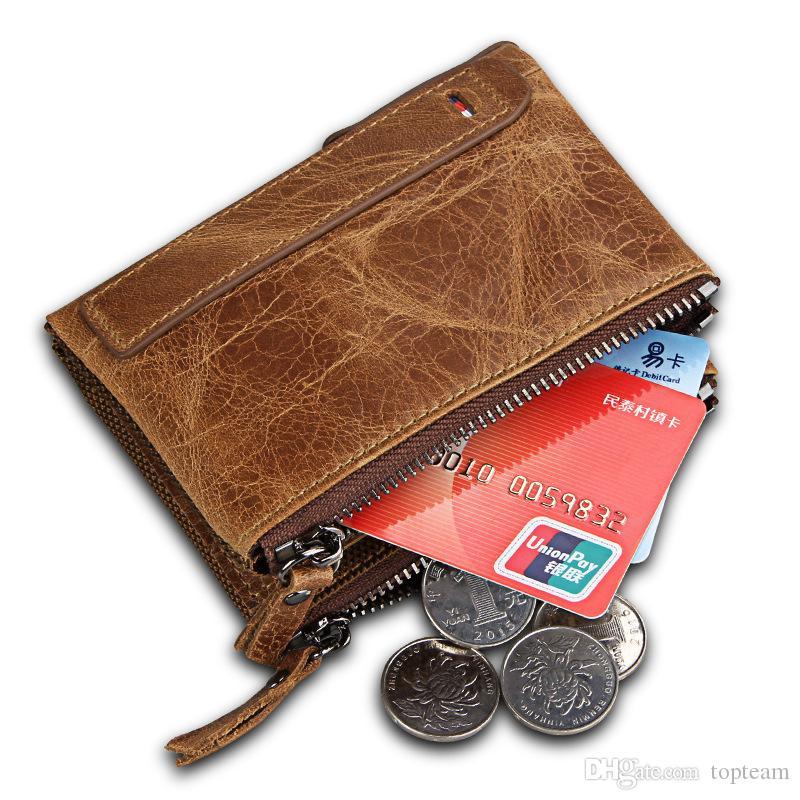 2018 Male Genuine Leather luxury wallet Casual Short designer Card holder pocket Fashion Purse wallets for men