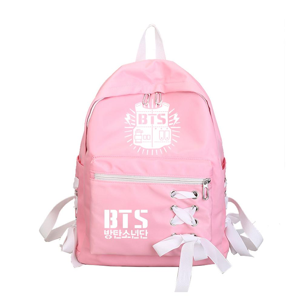 356ac1a891 WISHOT BTS Bangtan Boys Backpack Travel Bag For Teenagers Girls Bow Silk  Ribbon School Bag Lovely Pink Hand Bags Leather Handbags From Allinbag