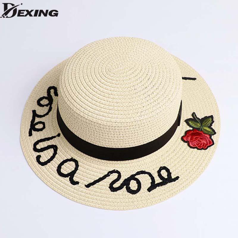 a36ce83c1 2018 Bone Sun Hat For Women Panama Cap Embroidered letters Straw Hat roses  Beach Female Summer British Bow Stetson