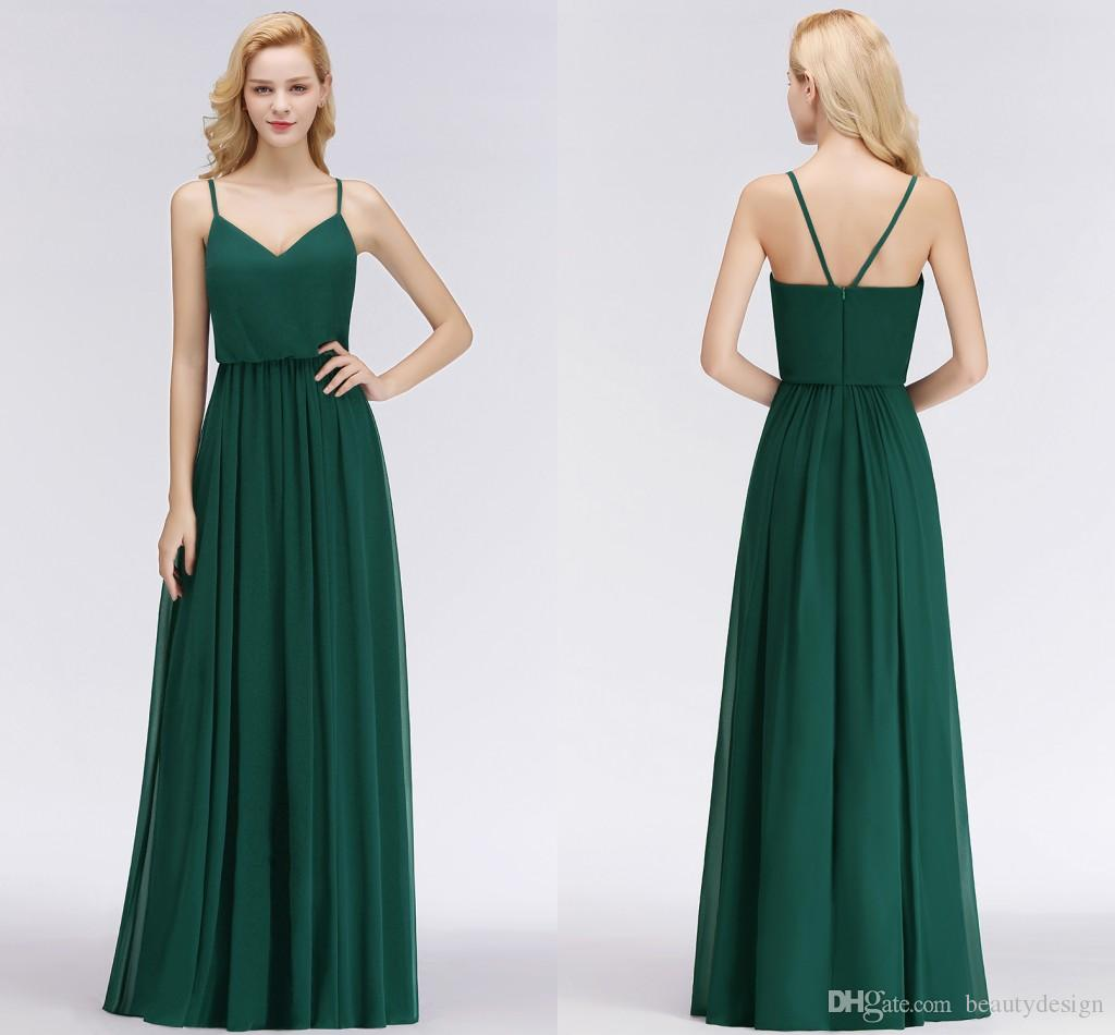 Simple Green Chiffon Bridesmaids Dresses For Weddings A Line Spaghetti Straps Backless Long Wedding Guest Dress Plus Size Bm0032