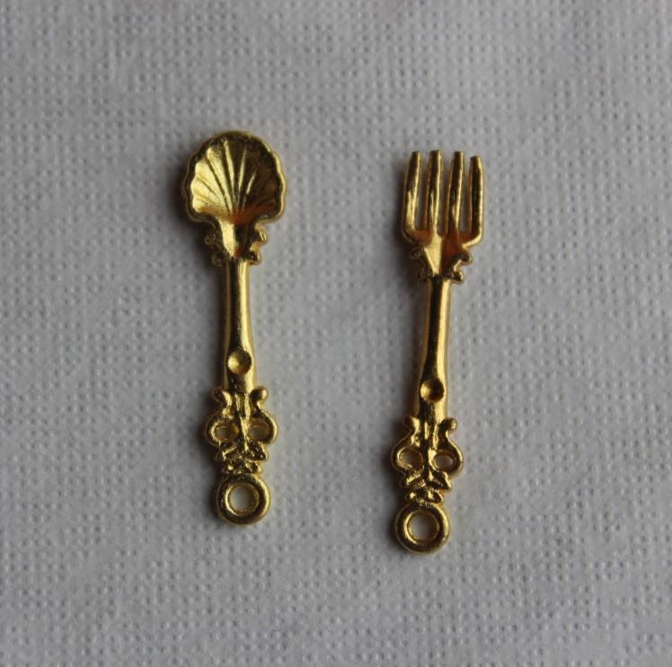 Metal Tableware Knife Spork Spoon Dollhouse Miniatures Decoration 1:12 Scale Length