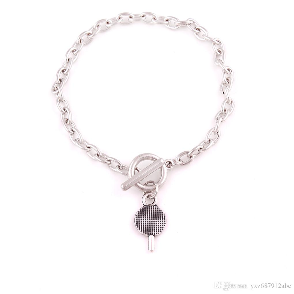 Hot Unique Design Retro Silver Table Tennis Bats Charm Pendent Special Link Chain Bracelet Fashion Jewelry Friendship Gift