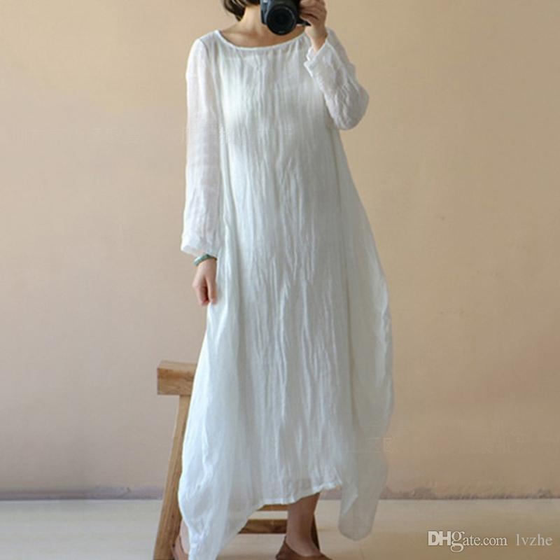 5e416818cd 2018 New Womens Ladies Casual Long Sleeve Baggy Loose Cotton Linen Long  Dress Kaftan Plus Size Cute Red Party Dresses Sundress On Sale From Lvzhe