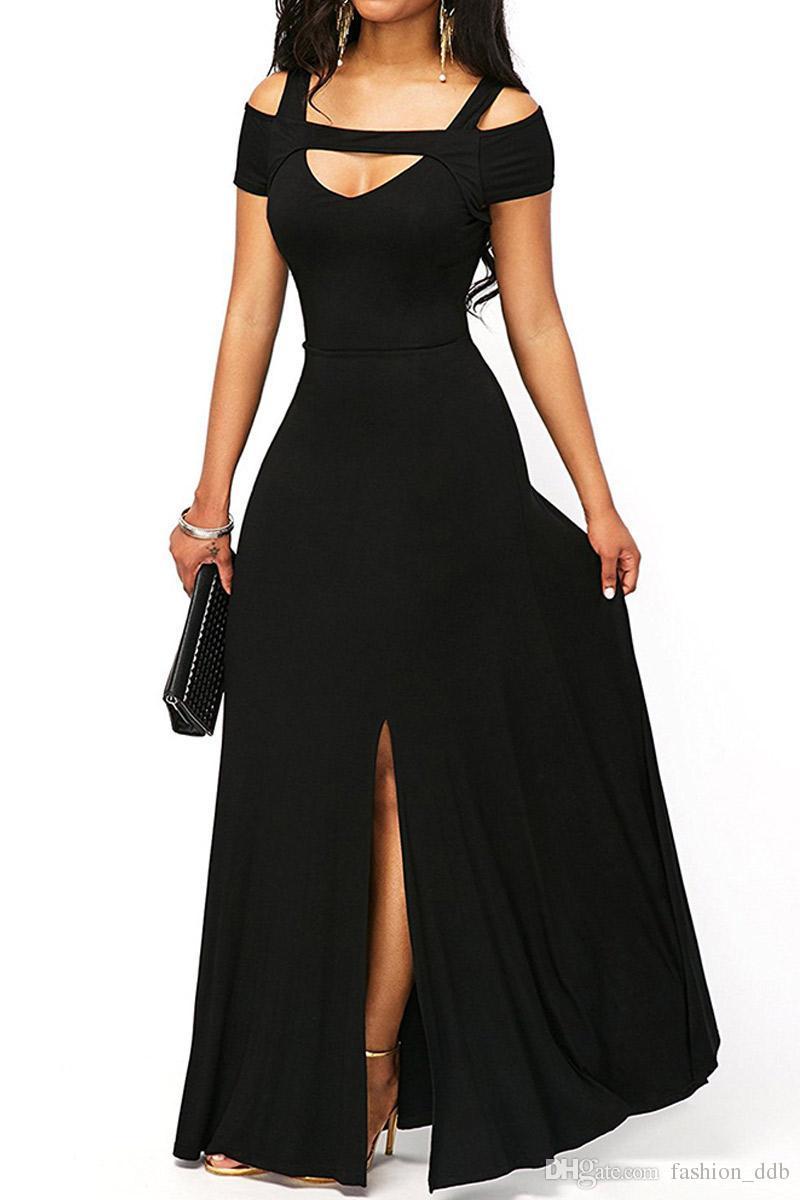 Long Dress Women Cold Shoulder Front Slit Flare Maxi Dress Floor Length  Party Vestido Solid Color Robe Longue LC61752 UK 2019 From Fashion ddb b6eaf264ea