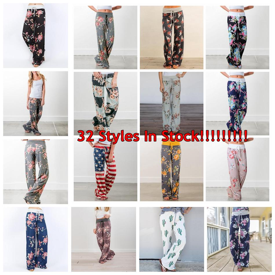 5fa42f86bfc5 Women Floral Yoga Palazzo Trousers 27 Styles Summer Wide Leg Pants ...