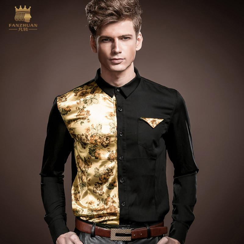 27340966ac93 FANZHUAN Men s Shirt Long Sleeve Slim Stretch Autumn Wind Men s ...