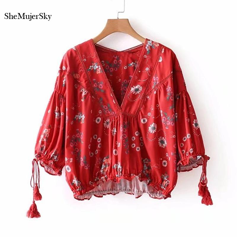 c6b44def17d19d 2019 SheMujerSky Bohemian Blouse Red Floral Summer Tops For Women Bandage  Tassel Sleeve Shirt 2018 Ropa De Mujer From Piaose, $27.14 | DHgate.Com