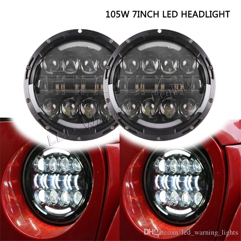 free shipping 4pairs 105W 7inch round LED headlight with DRL for Jeep on