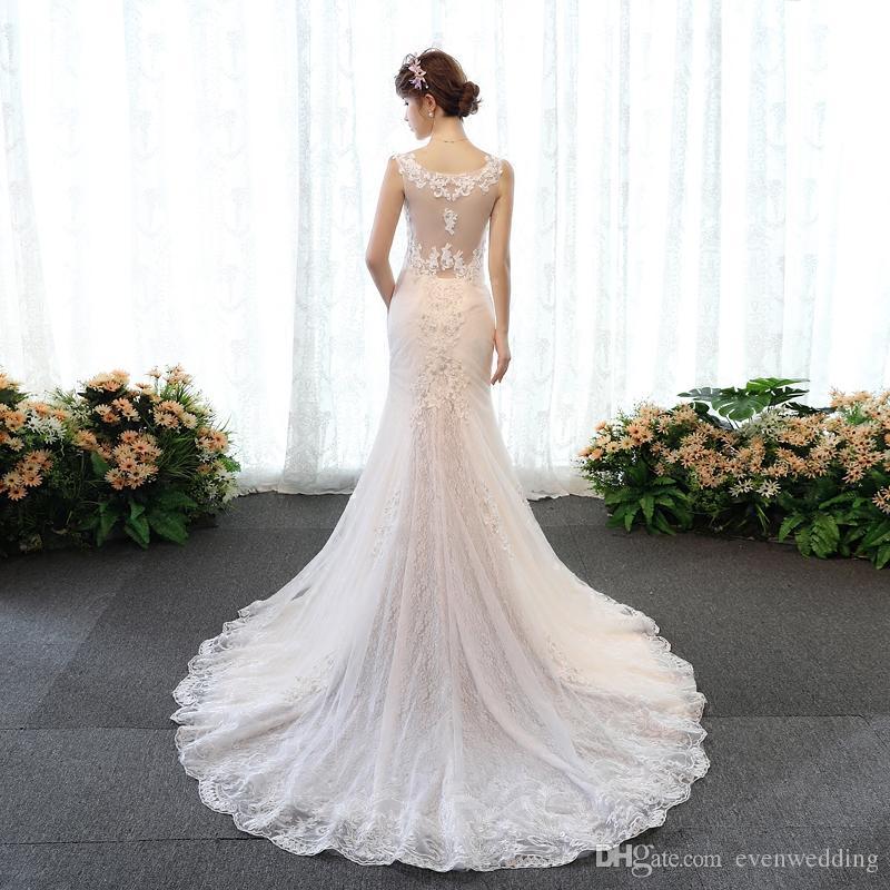 Vestido de boda de la sirena de los appliques del cordón con el tren de la corte Vestidos de boda románticos Vestidos de la boda de la alta calidad Boho