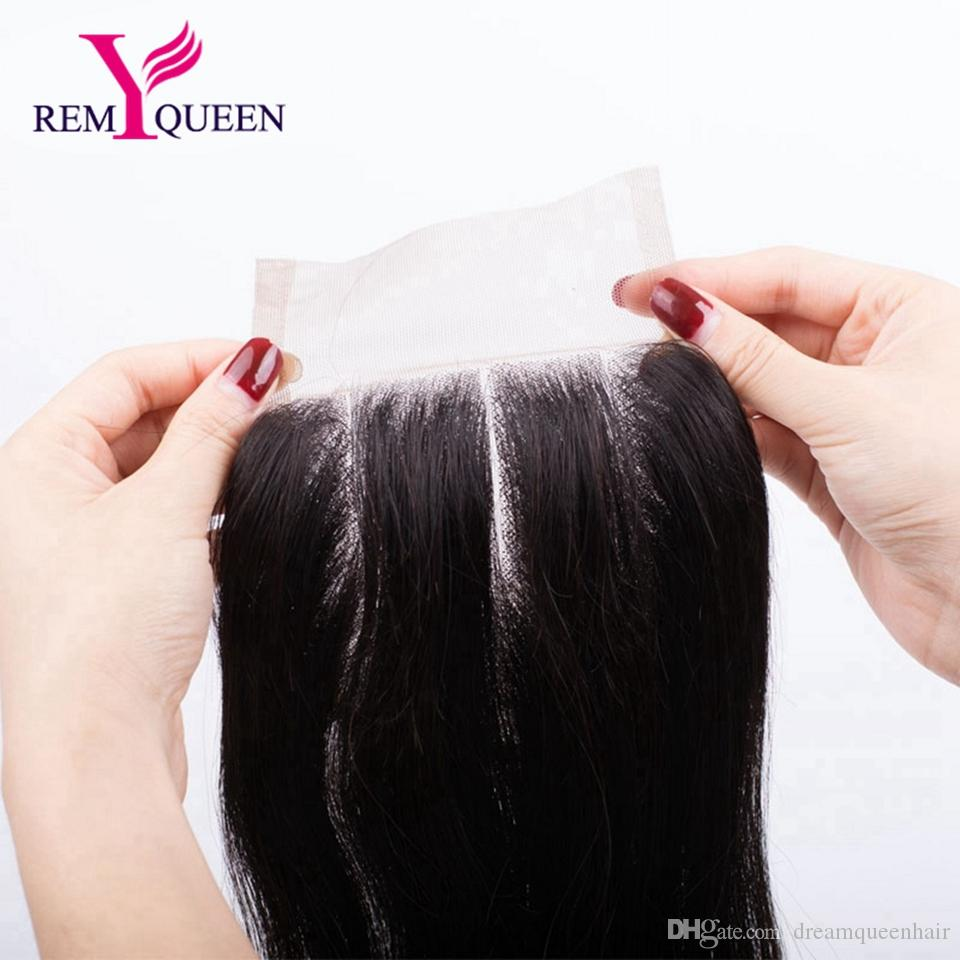 Dream Remy Queen Brazilian Virgin Human Hair Straight Free Middle Three Part Lace Closure 4x4 inch Swiss or Frence Lace 120% Density