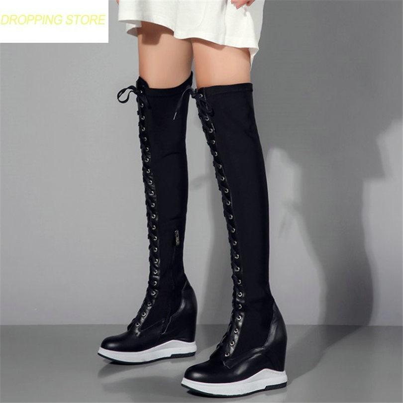 717809e35cd Thigh High Boots Women Leather Lace Up Knee High Booties Wedges Heel Tall  Shaft Punk Sneakers Motorcyle Boots Skechers Boots Mid Calf Boots From  Nevada