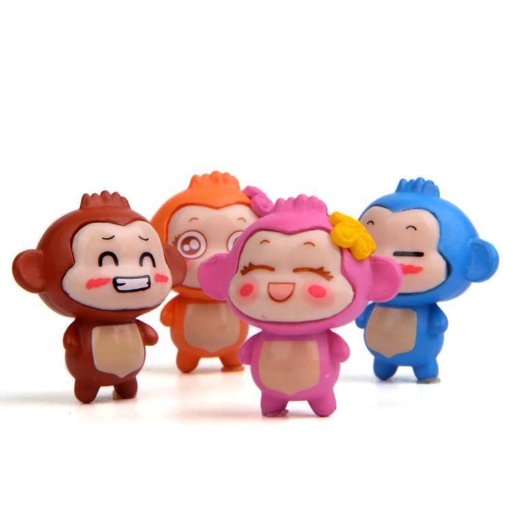 Creative Couples Monkey PVC Action Figure Collectible DIY Garden Decoration Cute Gift Toys Size of 3.5cm