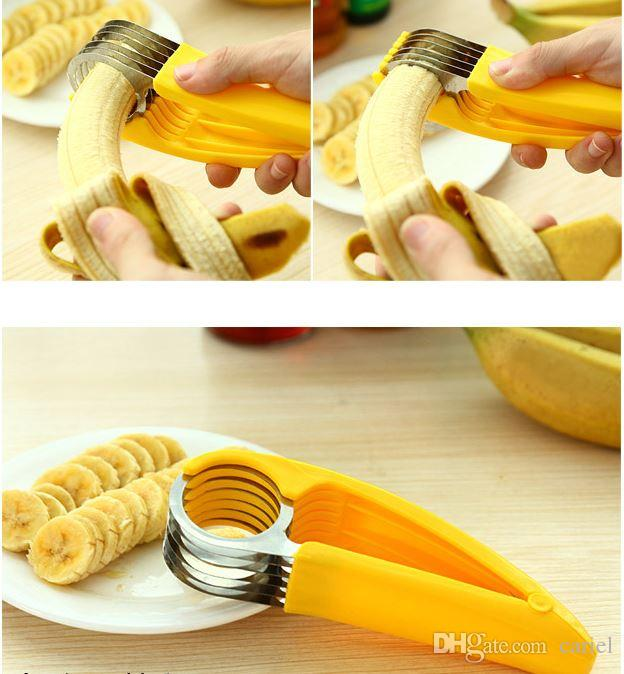 Yellow Banana Slicer shredders kitchen Tool Fruit Vegetable chopper cutter Tools for fruit salads stainlesssteelwith color box 2017 h113