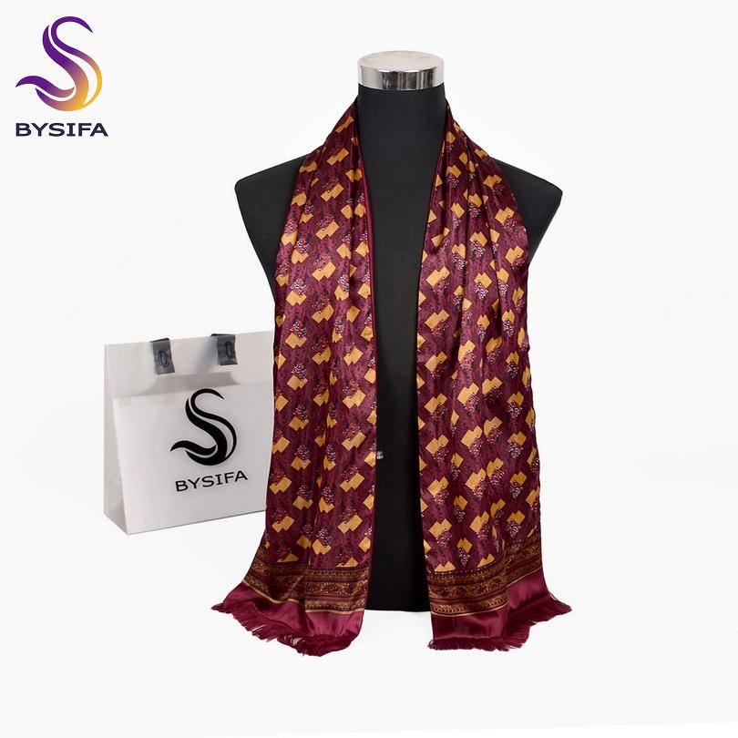 1798b32bd37 BYSIFA Men Silk Scarf Cravat Fashion Double Layers 100% Silk Neck Scarf Tie  Fall Winter Male Warm Tassel Long Scarves 165 24cm Bandanas Infinity Scarf  From ...