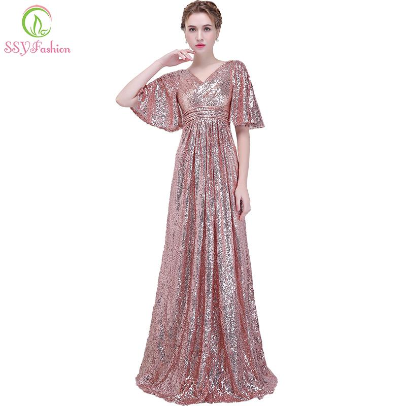 Ssyfashion New Banquet Evening Dress Simple Rose Gold Sequins ...