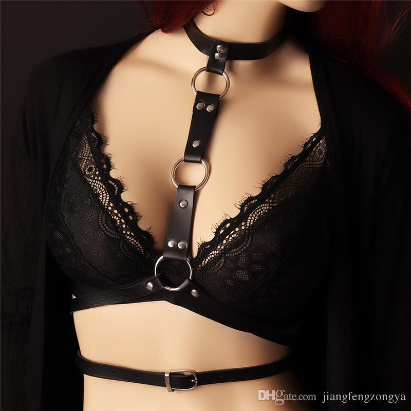 Handmade Punk Goth Sexy Real Leather Harness, Collar metal tassel Choker Bra Frame Top Body Bondage Cage Belt Straps Rivet