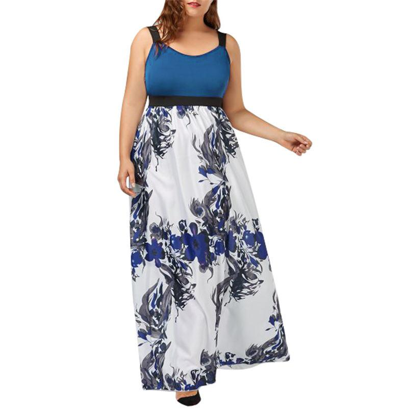 2018 New Women Plus Size Print Tank Maxi Dress Sleeveless Casual Summer  Long Maxi Dress Dropshipping Wholesaling retailing P4