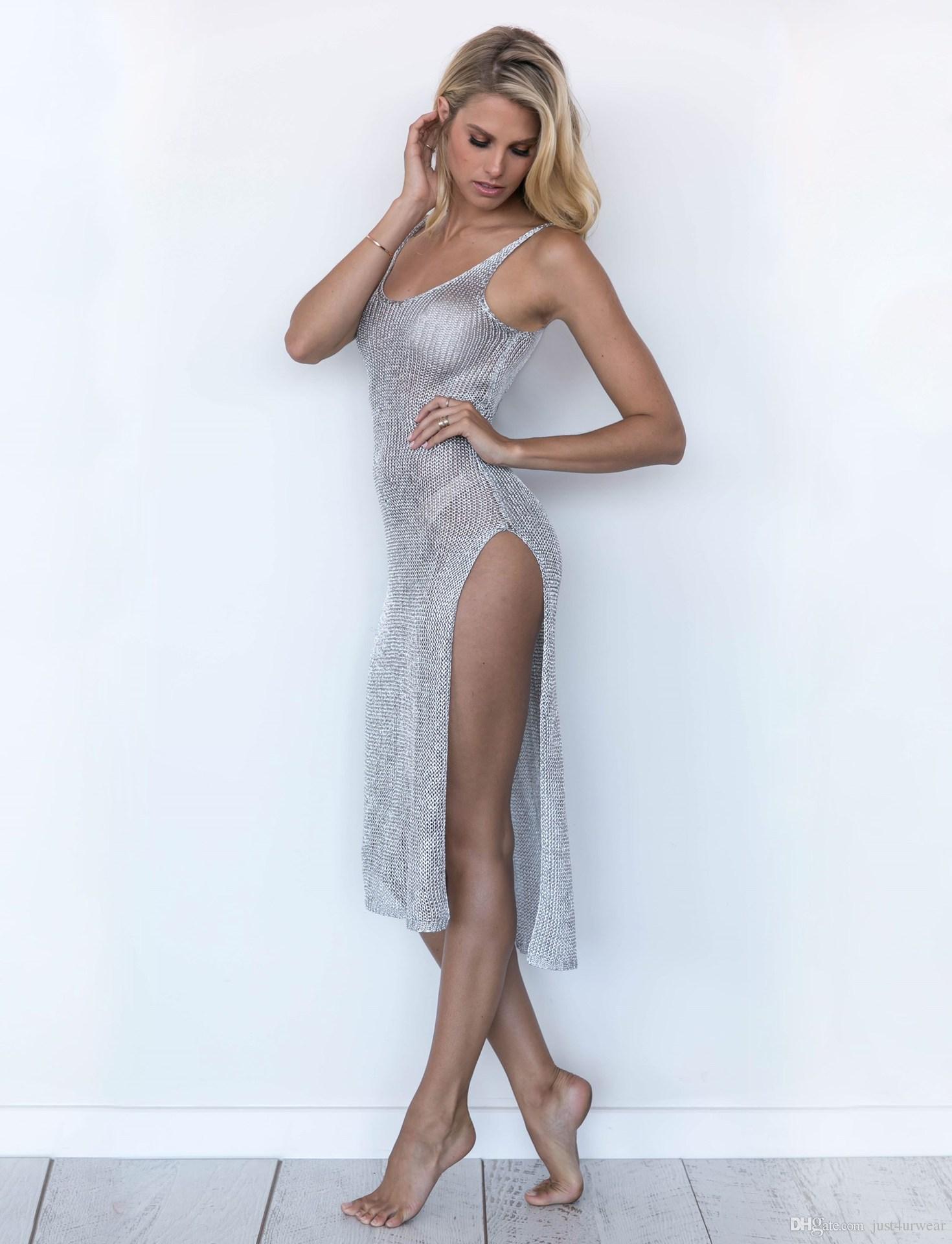 Femmes Sexy Plage Cover-ups Creux Out Tricoté Split Up Débardeur Longue Robe Couverture Corps Gaine Porter Usure Bord De Mer