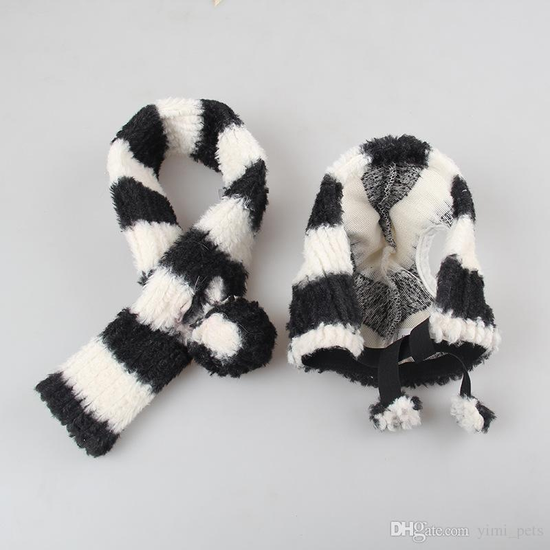 Dog Cat Pet Hat Pet Month Supplies Hair Ball Thick Striped Bell Warmth Ear Cat Scarf Set DHL