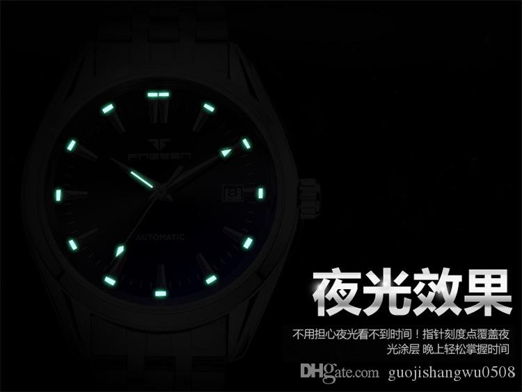 Zunfen Calendar Blue Nail Automatic Hollowing Out Mechanical Watch