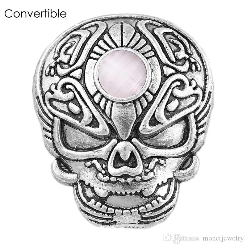 Rivca Cool skull inserts convertible Metal alloy silver gold magnetic Brooch For men fit antique Scarf Clip Vintage Muslim pin Brooches