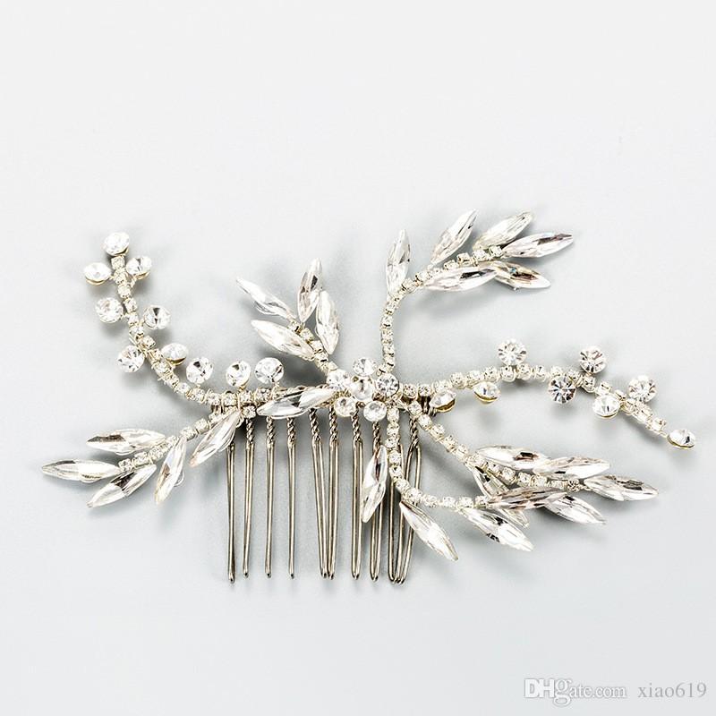 2019 Handmade Simple Bridal Crystal Headpiece Wedding Hair Comb Clip Accessories Silver Women Hair Piece Jewelry