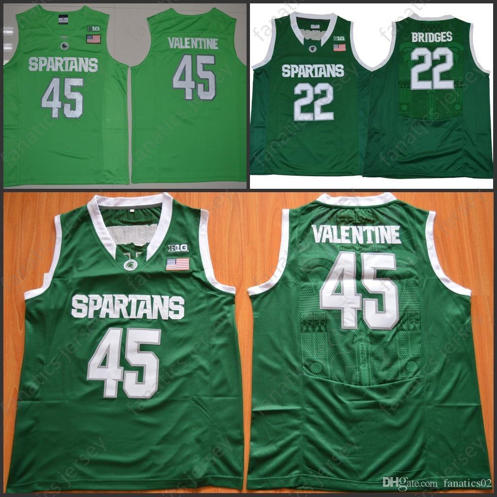 Michigan State Spartans Jerseys NCAA College Basketball 22 Bridges 45  Denzel Valentine 100% 100% Stitched Jerseys Big Discount Online with   29.59 Piece on ... 1aa8fd486