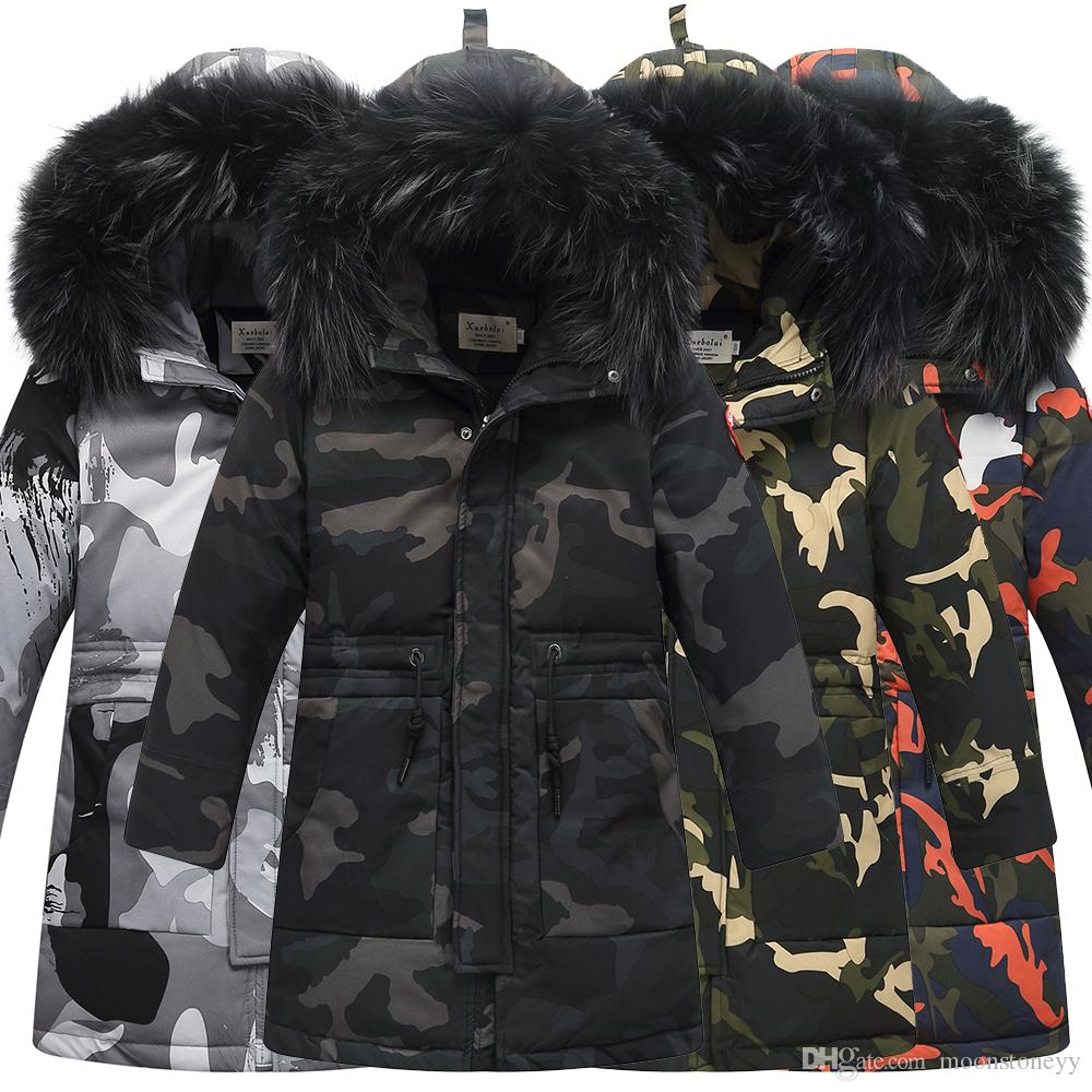Winter Children's Down Jackets Camouflage style Boy Down Coats Fur Teenager Kids parka Down Outerwear