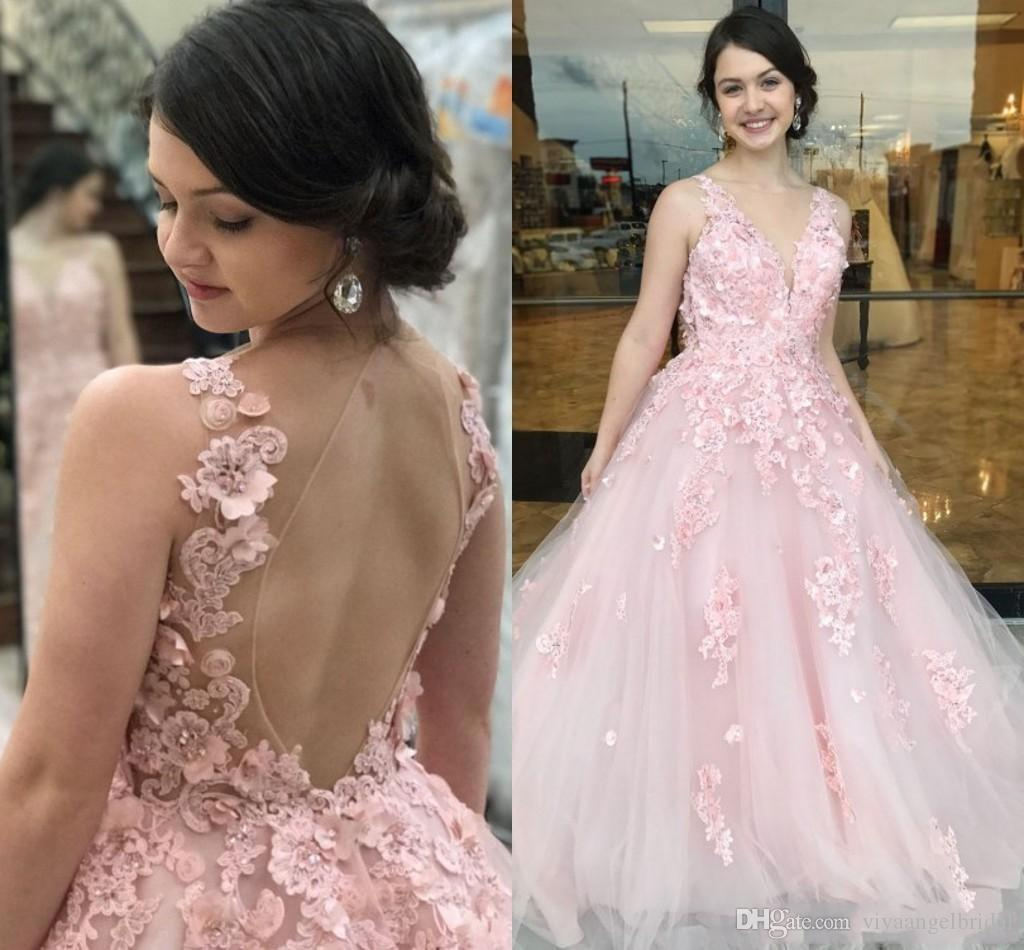 13b1a716 ... Wear V Neck 3D Flowers Lace Applique Beaded Backless Sweep Train Puffy  Custom Party Pageant Prom Gowns Long Dress Online Long Sleeve Evening Dress  From ...