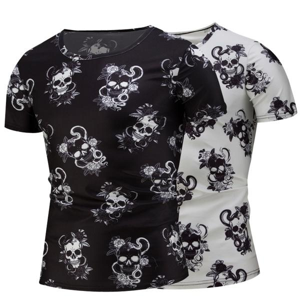 0bba8dcd8802 New Design Skull Print Mens Tshirt Fashion 3D T Shirt Summer Short Sleeve  Casual Breathable Tops Tee Plus Size 5XL T Shirt Homme T Shirt T Tee Shirts  Online ...