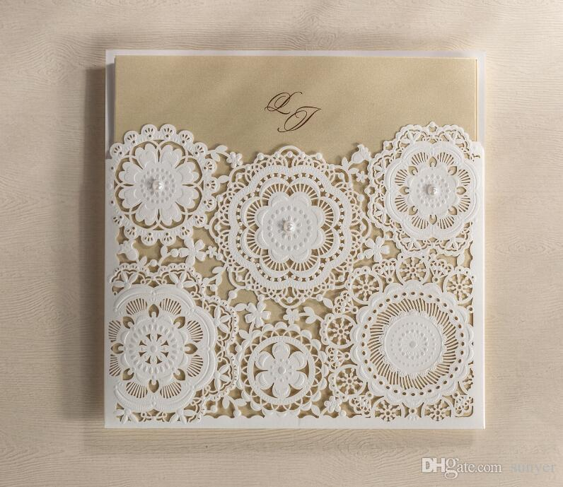 Laser Cut Lace Flower Wedding Invitations CardCustomized Birthday Marriage Invitation Cards Party KitEXPRESS Shipping Custom Photo Greeting