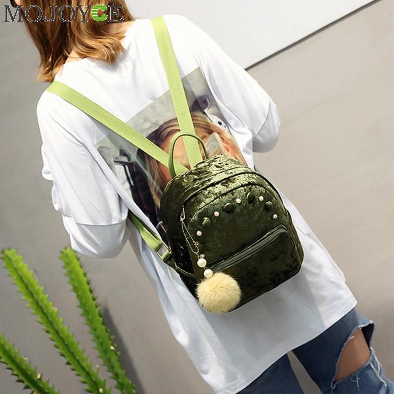 Frauen Retro Samt Rucksack Korean Fashion Elegante Rucksäcke mit Kleinen Plüsch Balls Mädchen Mochila Schultasche für Mädchen Im Teenageralter