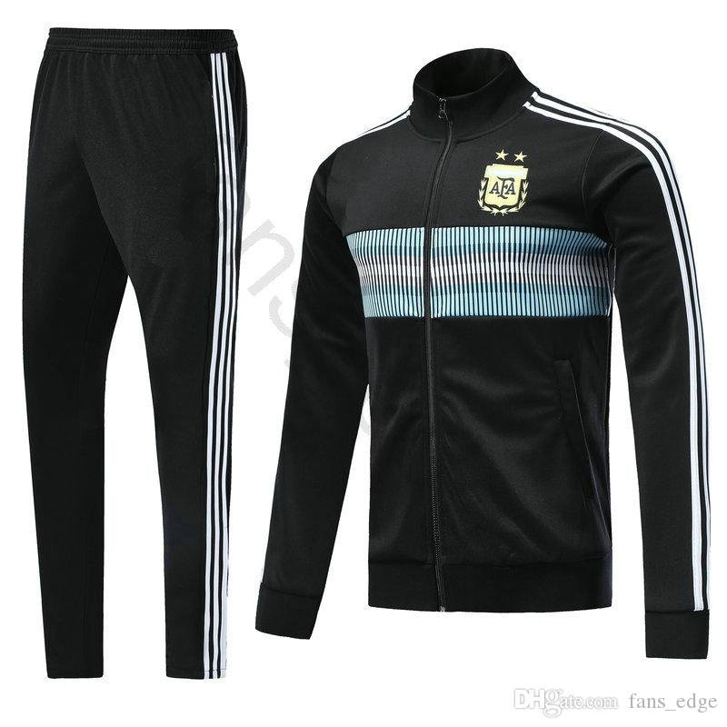 ba7e5cece7c 2019 2018 World Cup Argentina Football Jacket Custom Home Blue Soccer  Training Suit Kit Tracksuit Chandal Set Sportswear Sports Long Skinny Pant  From ...