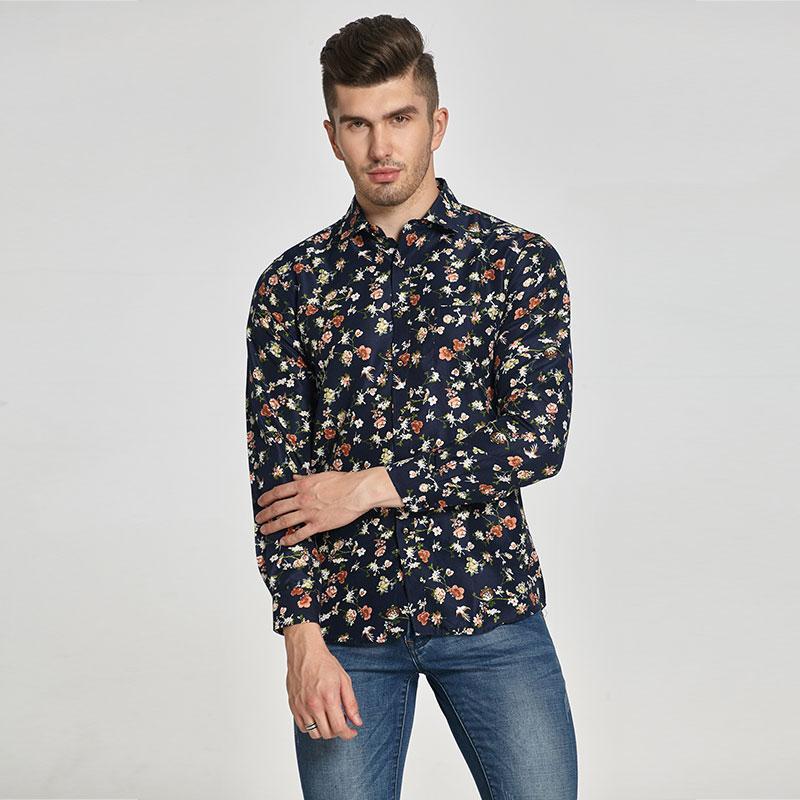 bc11e7ab945bf Compre Camisa Dos Homens De Manga Longa Moda Impressão Floral Camisas  Masculinas Marca De Roupas Camisa Ocasional Homem Camisa Masculina De  Clothingcart