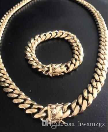 38983c1192e8a 14mm Men Cuban Miami Link Bracelet & Chain Set 14k Gold Plated Stainless  Steel