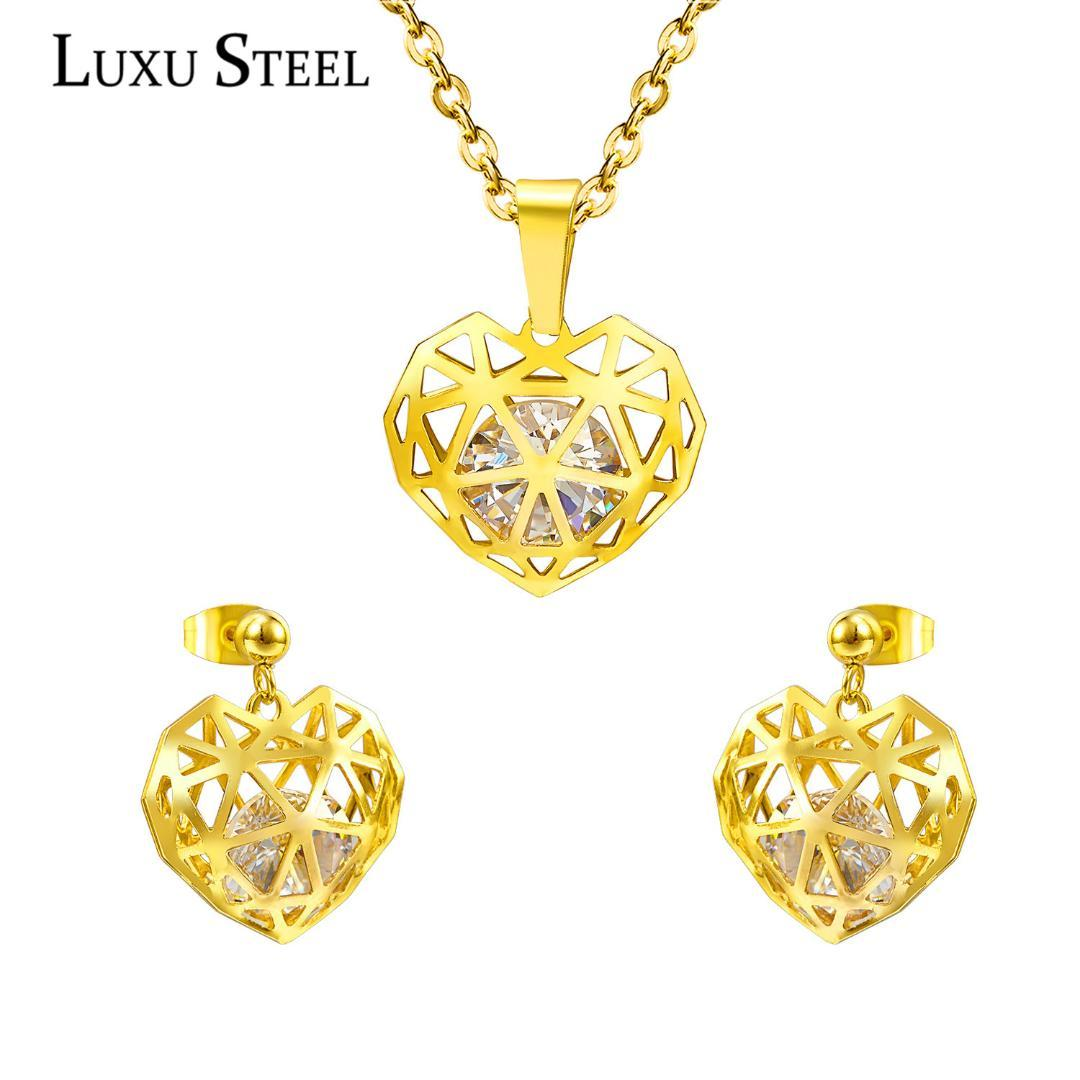 LUXUSTEEL Hot Selling Hollow Out Heart Shaped Pendant ,CZ Crystal Necklace And Earrings Set In Jewelry For Women With Free Chain