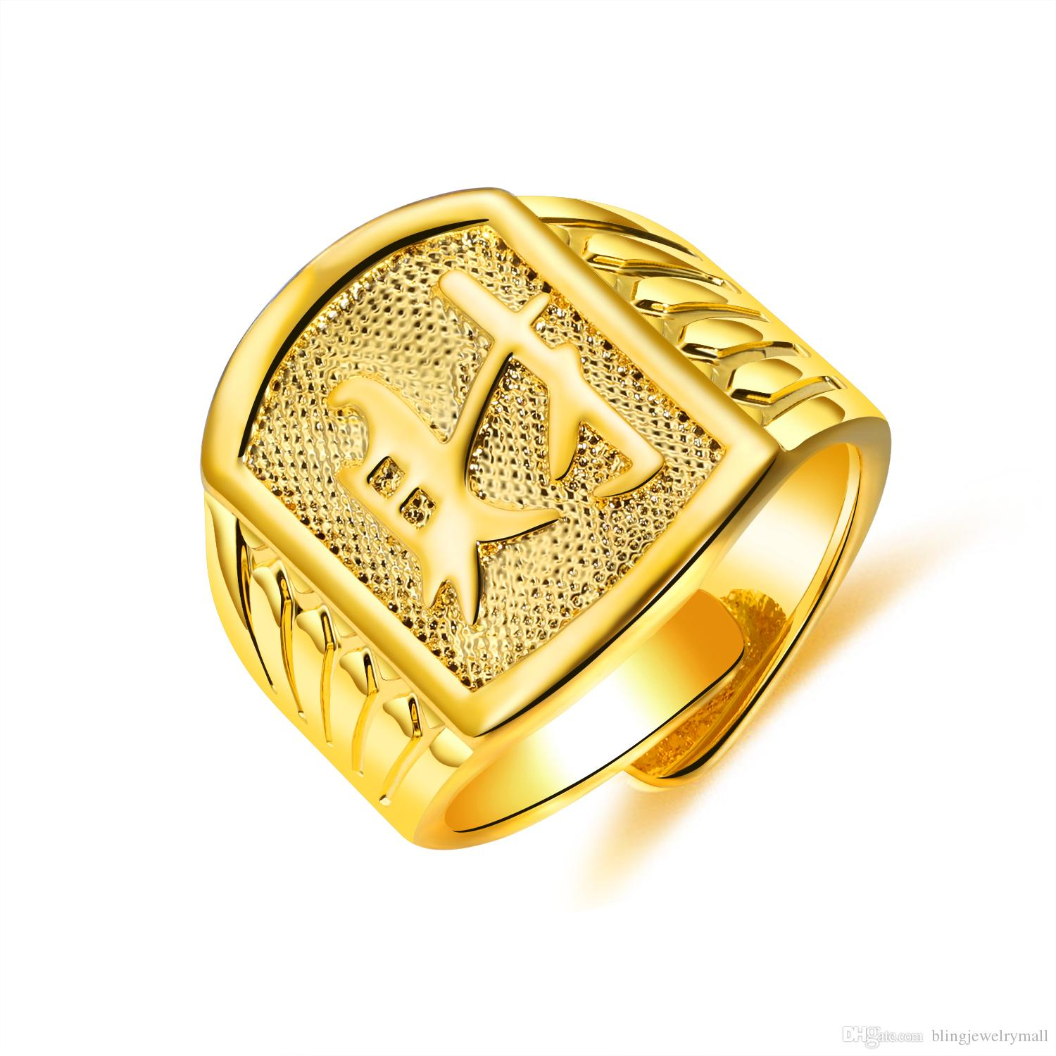 2019 Classic Gold Ring Menwomen Gift Chinese Engraving Good Luck Statement Rings Carving 21mm Wide Wedding Bands Kj080 From Blingjewelrymall: Wide Gold Wedding Rings Women At Websimilar.org
