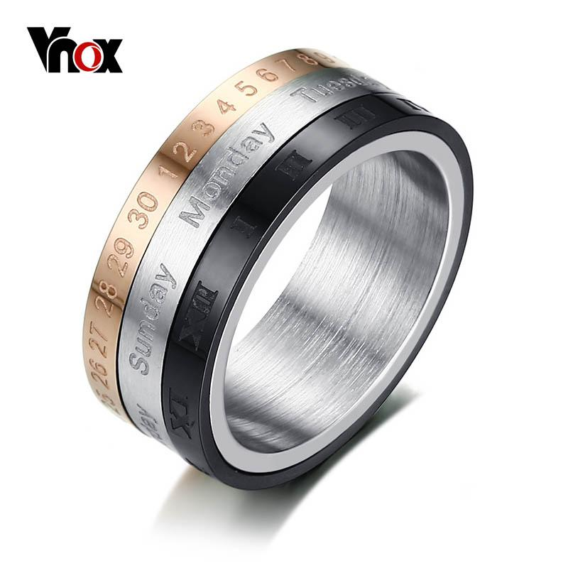 6479e8dcb Vnox Rotatable 3 Part Roman Numerals Ring Men Jewelry Stainless Steel Cool  Punk Spinner Male Bijoux Band With Date Time Calendar Yellow Gold  Engagement ...
