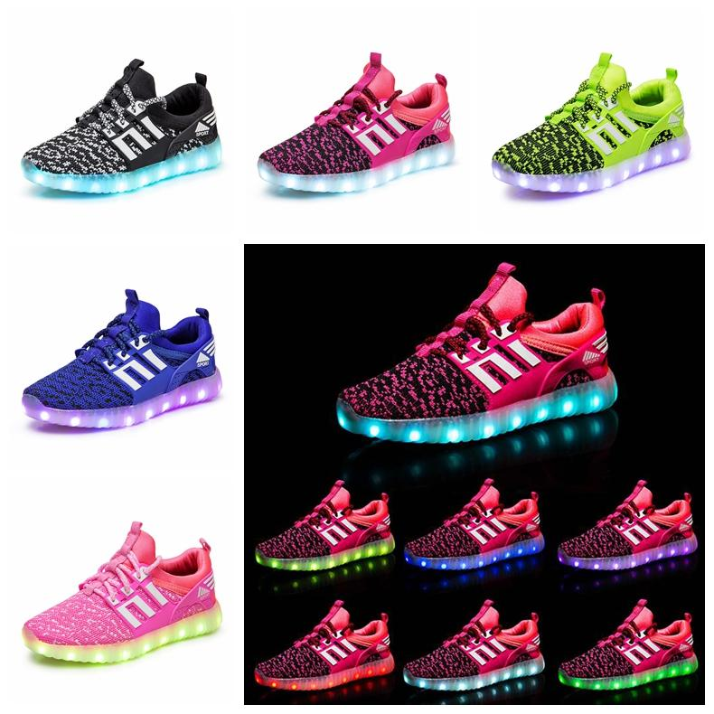Children LED Shoes Kids Casual Luminescence Shoes Colorful Glowing Baby Boys Girls Sneakers USB Charging Light up outdoor Shoes GGA1043